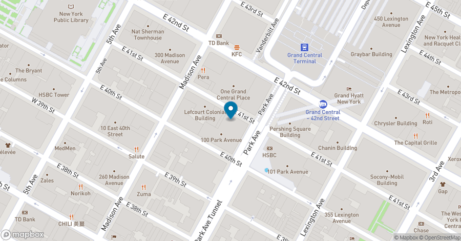 Map of 100 Park Avenue in New York City
