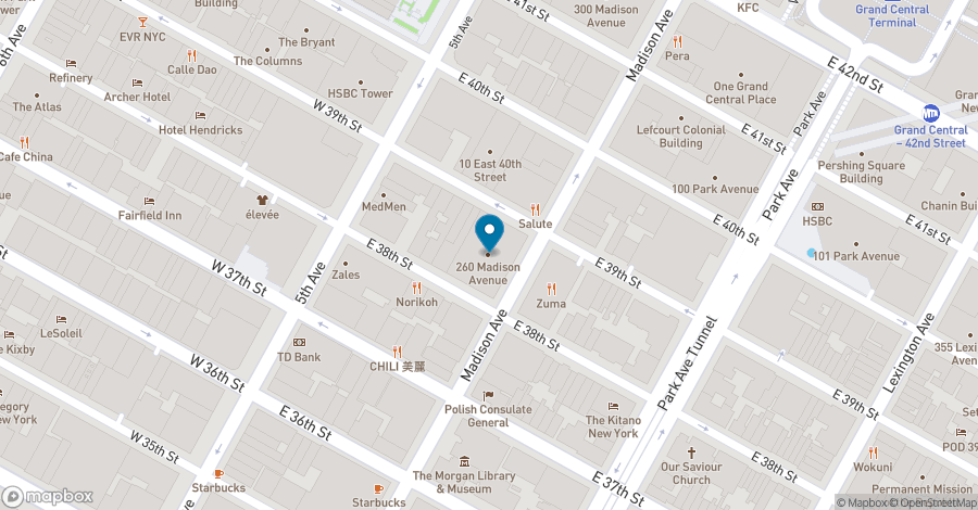 Map of 260 Madison Avenue in New York