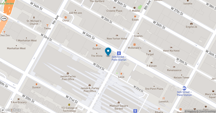 Map of 5 Penn Plaza in New York
