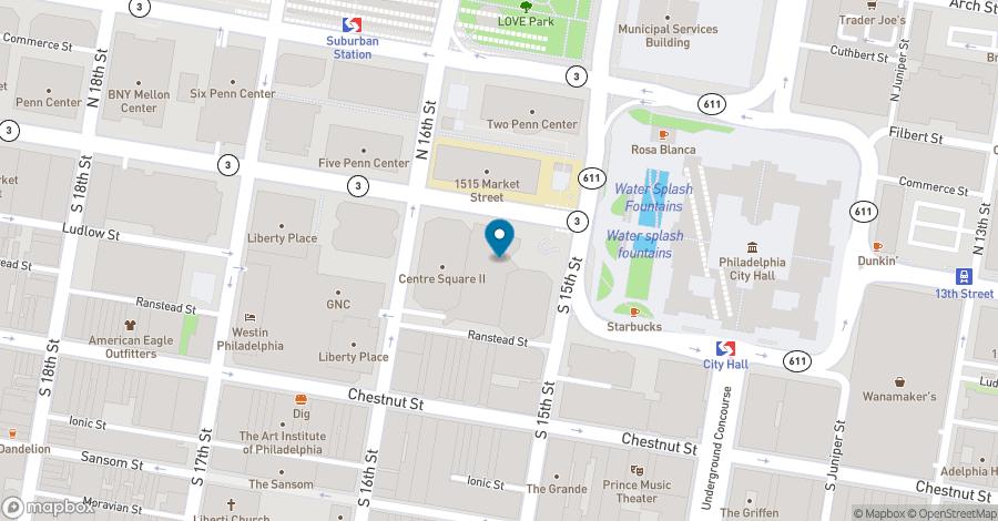 Map of 1500 Market Street in Philadelphia