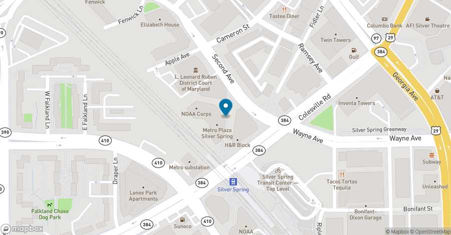 Map of 8403 Colesville Road in Silver Spring