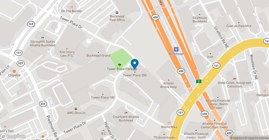 Map of 3348 Peachtree Road NE in Atlanta