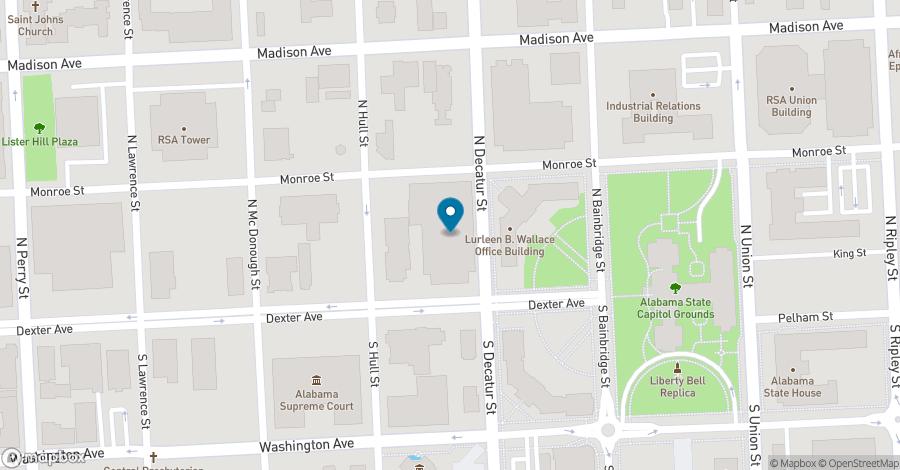 Map of 445 Dexter Avenue in Montgomery