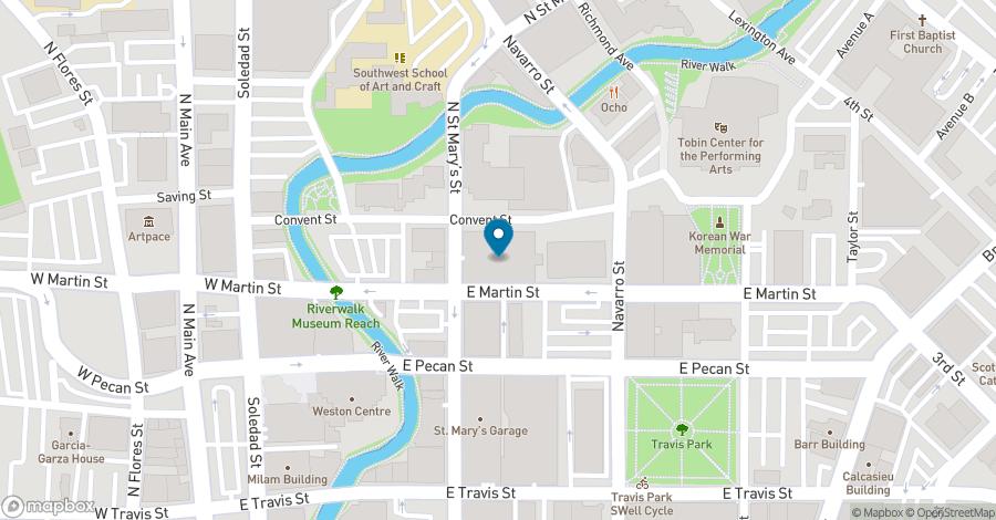 Map of 300 Convent Street in San Antonio
