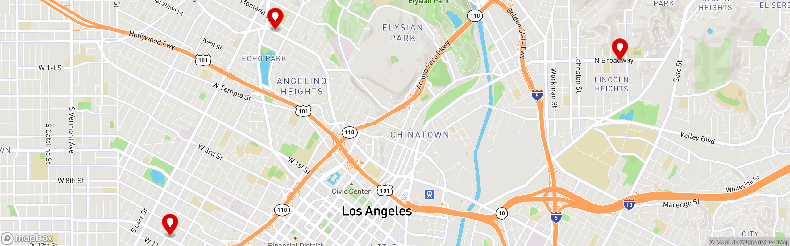 Map of restaurant locations