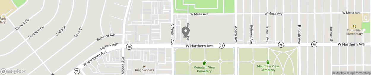 Map of 1236 S Prairie Ave in Pueblo