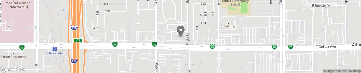 Map of 14651 East Colfax Avenue in Aurora
