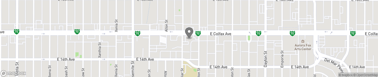 Map of 9200 East Colfax Avenue in Aurora