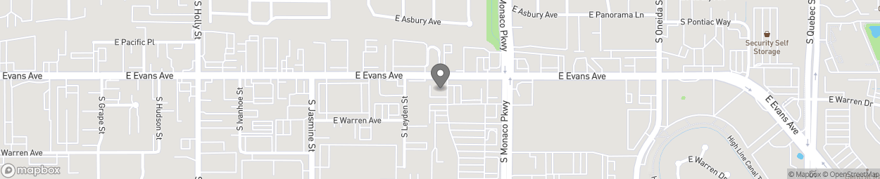 Map of 6342 E Evans Ave in Denver