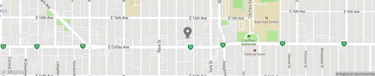 Map of 2121 E Colfax Ave in Denver