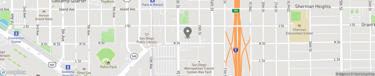 Carte de 1452 K Street à San Diego
