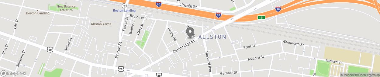 Map of 393 Cambridge Street in Allston