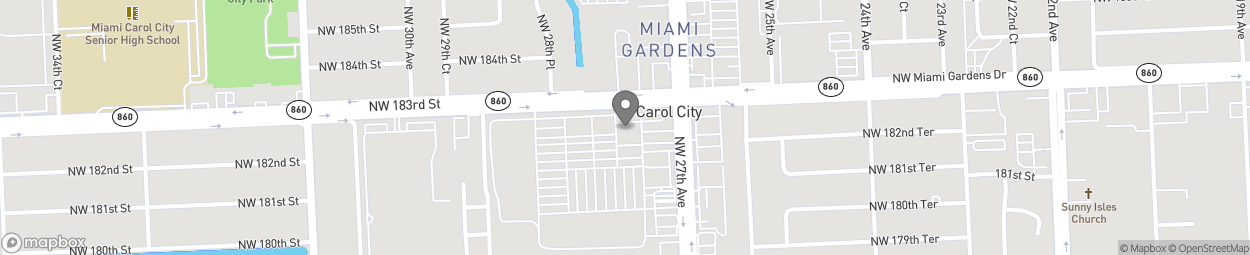 Map of 2720 NW 183rd Street in Miami Gardens