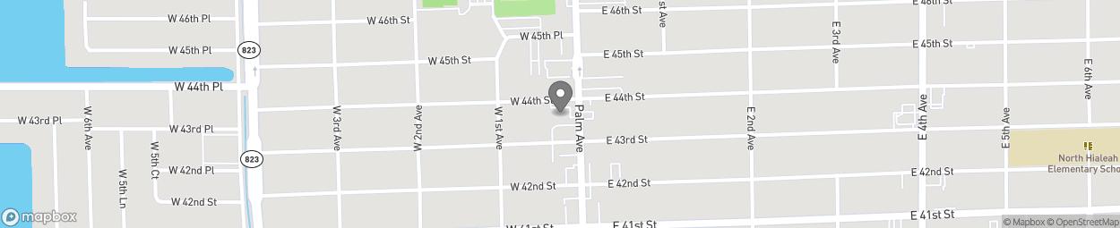 Map of 4370 Palm Avenue in Hialeah