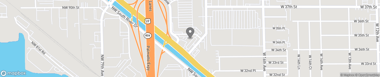 Map of 3495 W Okeechobee Road in Hialeah