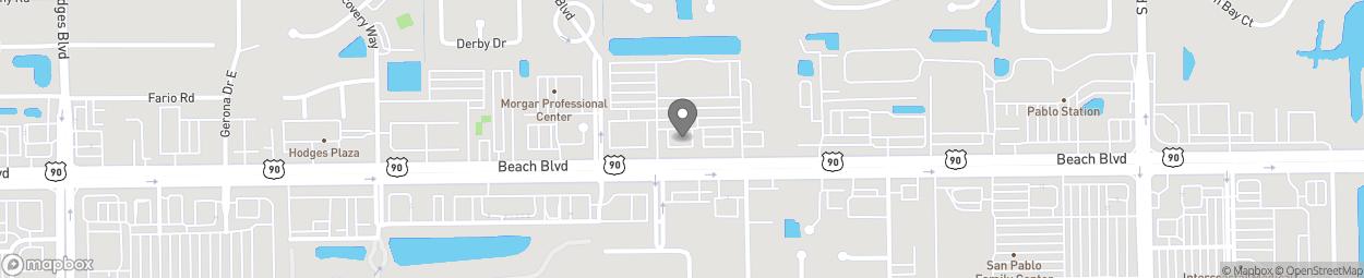 Map of 14045 Beach Boulevard in Jacksonville