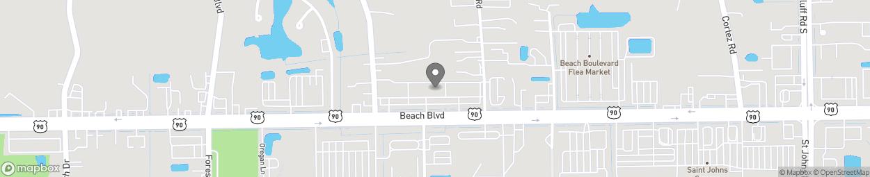 Map of 10771 Beach Blvd in Jacksonville