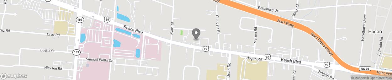 Map of 6501 Beach Boulevard in Jacksonville