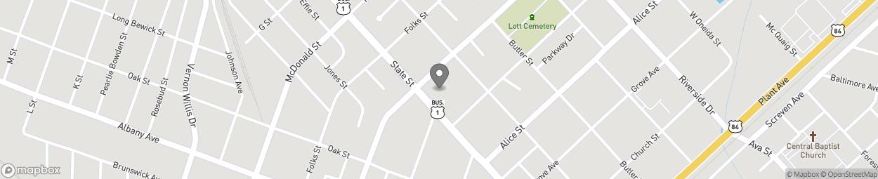 Map of 580 State Street in Waycross
