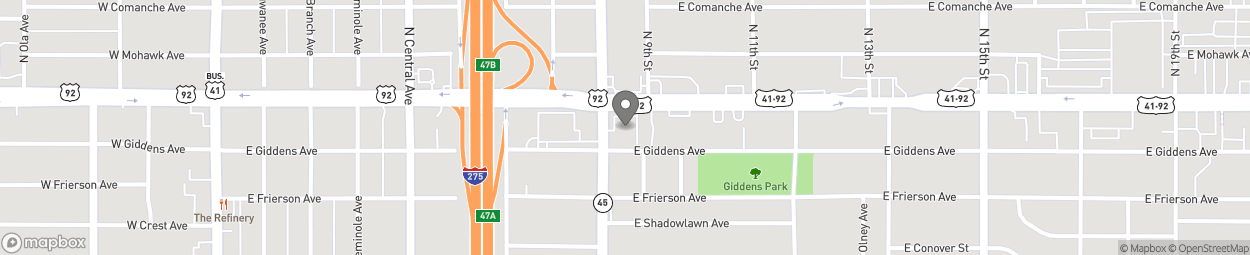 Map of 901 E Hillsborough Avenue in Tampa