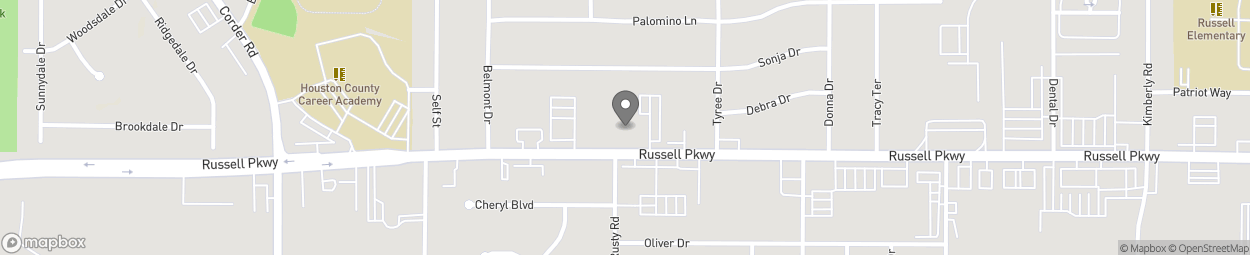 Map of 1216 Russell Parkway in Warner Robins