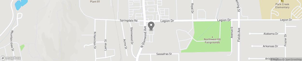 Map of 1130 N Glenwood Ave in Dalton