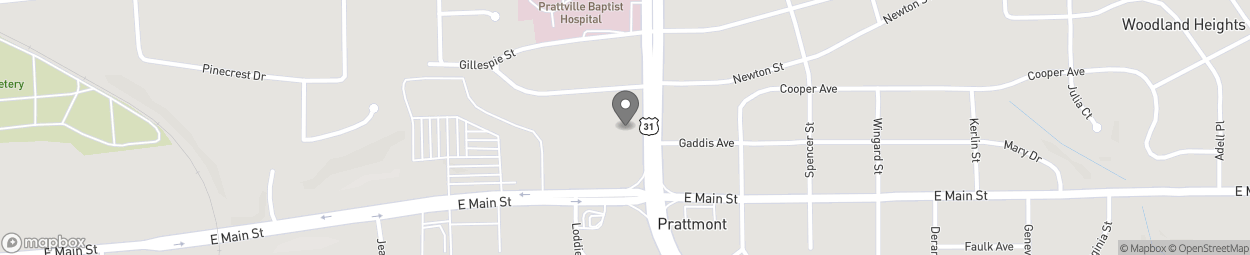 Map of 600 South Memorial Drive in Prattville