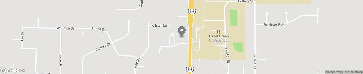 Map of 14287 Highway 231 431 North in Hazel Green