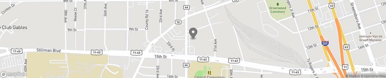 Map of 1401 Martin L King Jr Blvd in Tuscaloosa