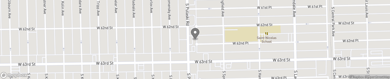 Map of 6225 S Pulaski Rd in Chicago