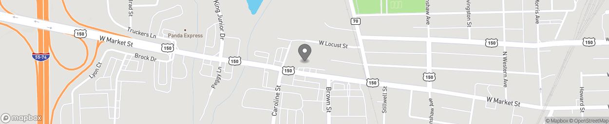 Map of 1601 West Market Street in Bloomington
