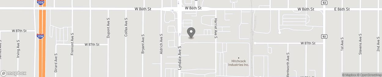 Carte de 8645 Lyndale Avenue South à Bloomington
