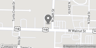Map of 2401 W Walnut St in Rogers