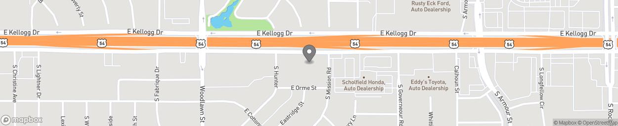 Carte de 6801 East Kellogg Drive à Wichita