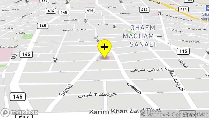 موقع مستشفى طهران