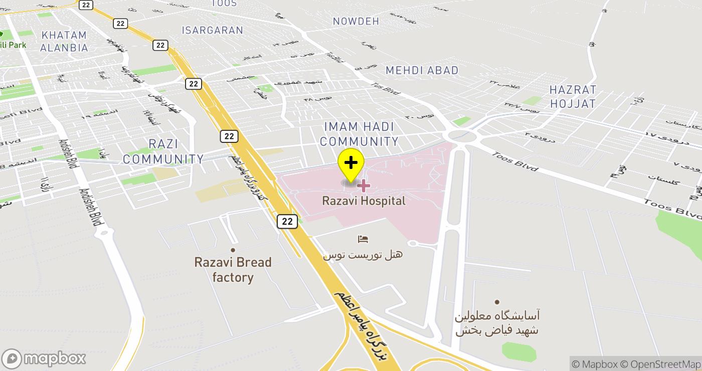 مستشفى الرضوي location