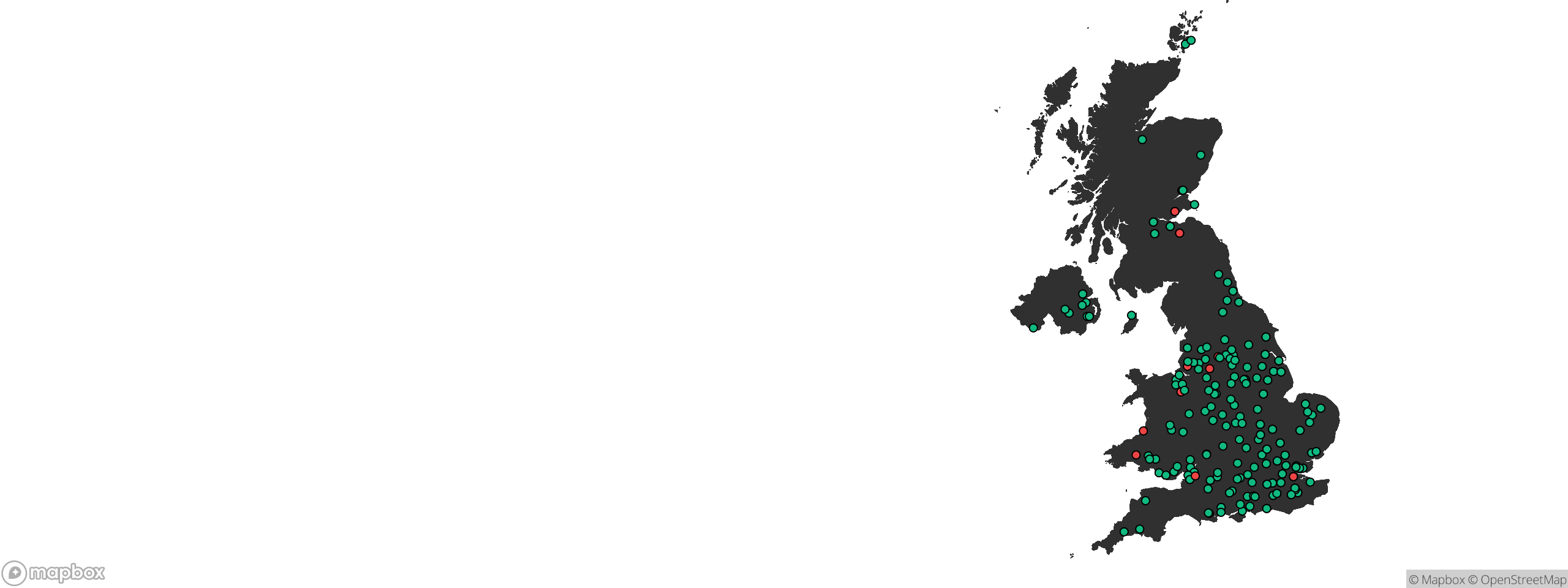 A map of airsoft sites in the UK