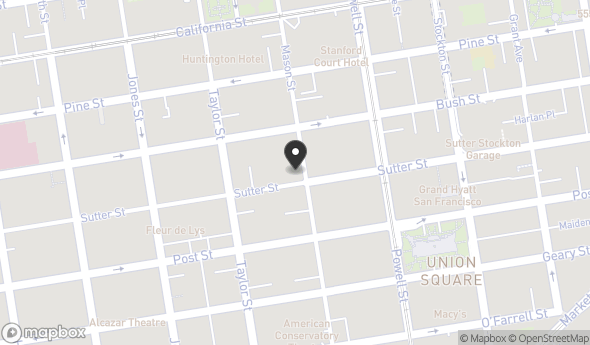 Location of Union Square: 600 Mason St, San Francisco, CA 94108