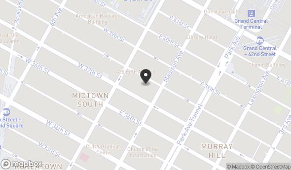 Location of 14 E 38th St, New York, NY 10016