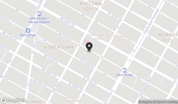 Location of 12 E 33rd St, New York, NY 10016