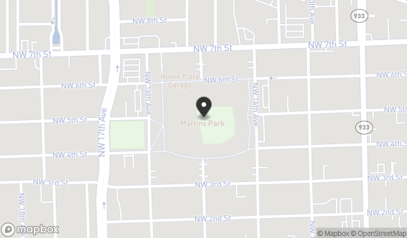 Location of Marlins Ballpark: 501 Marlins Way, Miami, FL 33125
