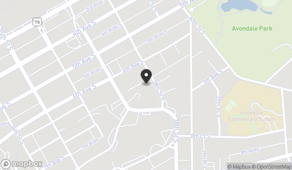 Location of 608 38th St S, Birmingham, AL 35222