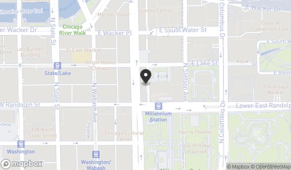Location of Millennium Park Plaza: 155 N Michigan Ave, Chicago, IL 60601