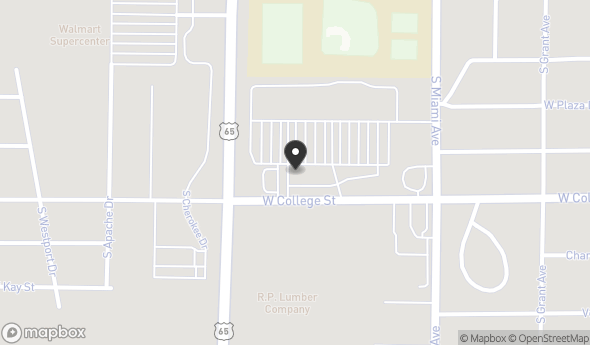Location of MARSHALL PLAZA: NEC of COLLEGE STREET & US-65 HIGHWAY, Marshall, MO 65340