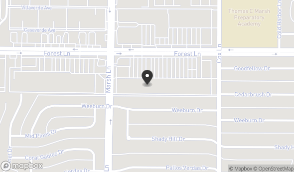 Location of Park Forest SE Shopping Center: 11722 Marsh Ln, Dallas, TX 75229