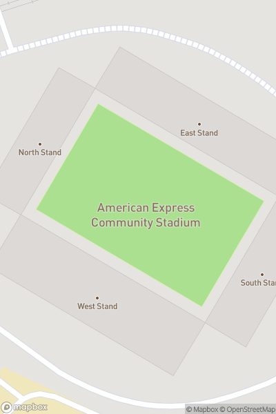 A map indicating the location of Amex Stadium
