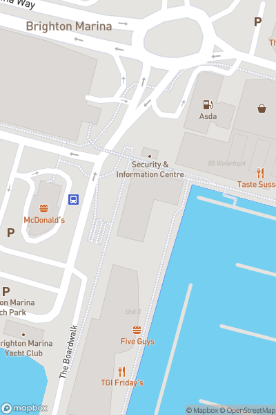 A map indicating the location of Brighton Marina