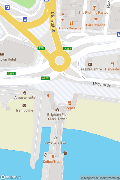 A map indicating the location of Brighton Palace Pier