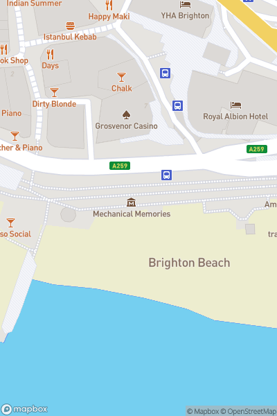 A map indicating the location of Brighton City Sightseeing