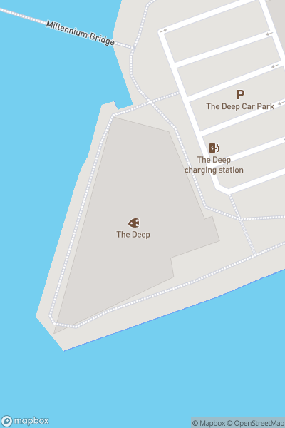 A map indicating the location of The Deep
